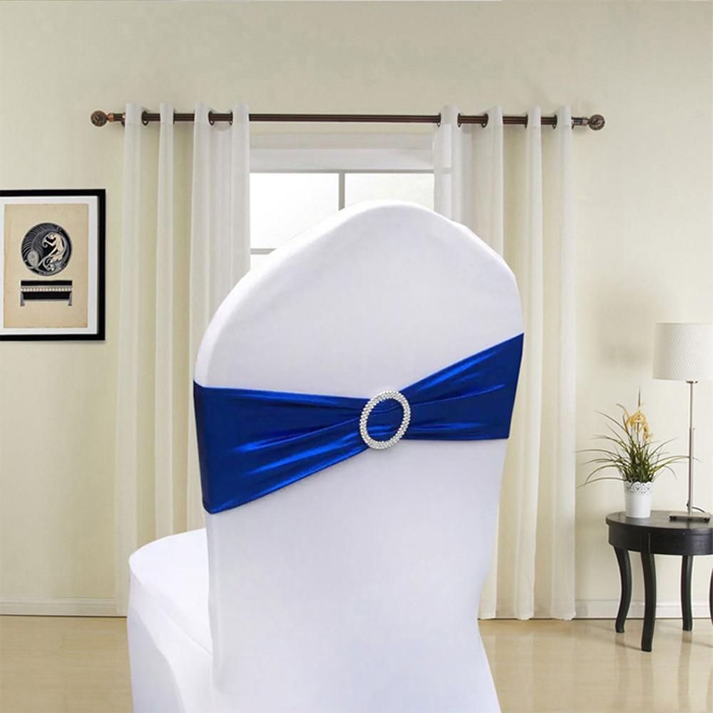 100 stücke Metallic Gold Silber Spandex Lycra Stuhl Schärpen Bands Royal Blau Lila Rosa Stuhl Abdeckung Schärpe Hochzeit Stuhl decor-in Schärpen aus Heim und Garten bei  Gruppe 2