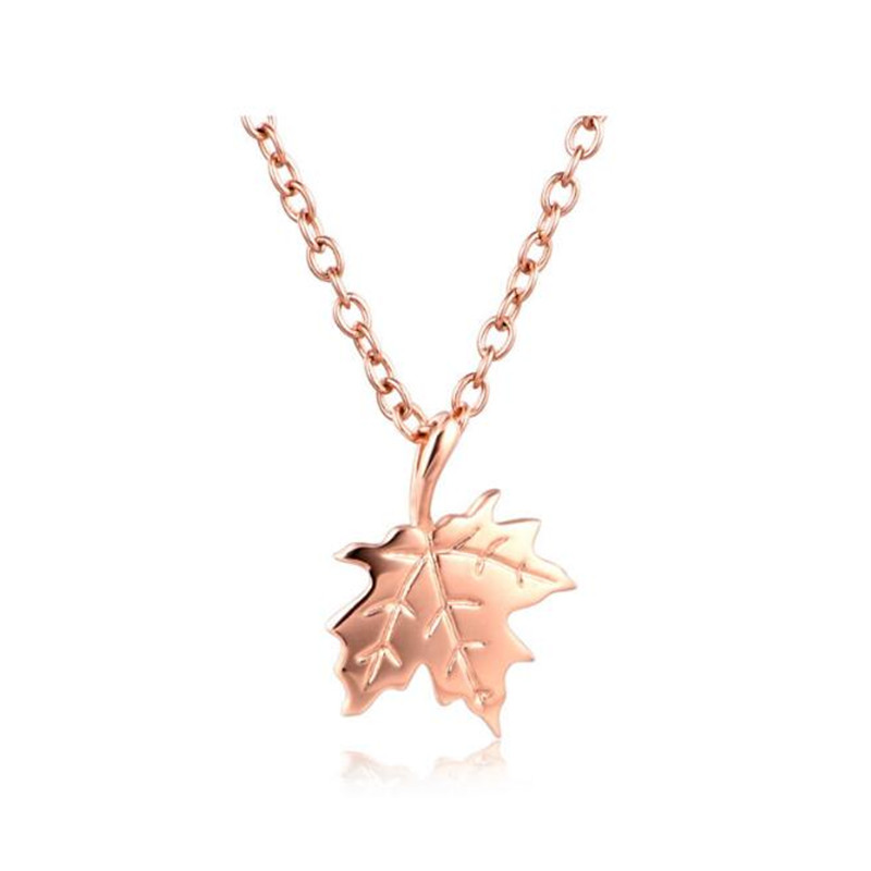 все цены на Rose Gold Color Leaf Necklaces & Pendants For Women Girls Maple Leaf Charm 18K Gold Jewelry Gifts Birthday Gift 0.44G