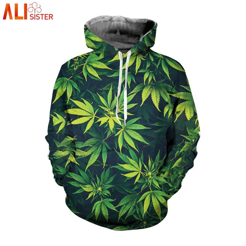Alisister Weed Leaf Men's Hoodies Women Sweatshirt Plus Size 3d Hooded Pullover Tracksuit Casual Streetwear Outfits Top DropShip