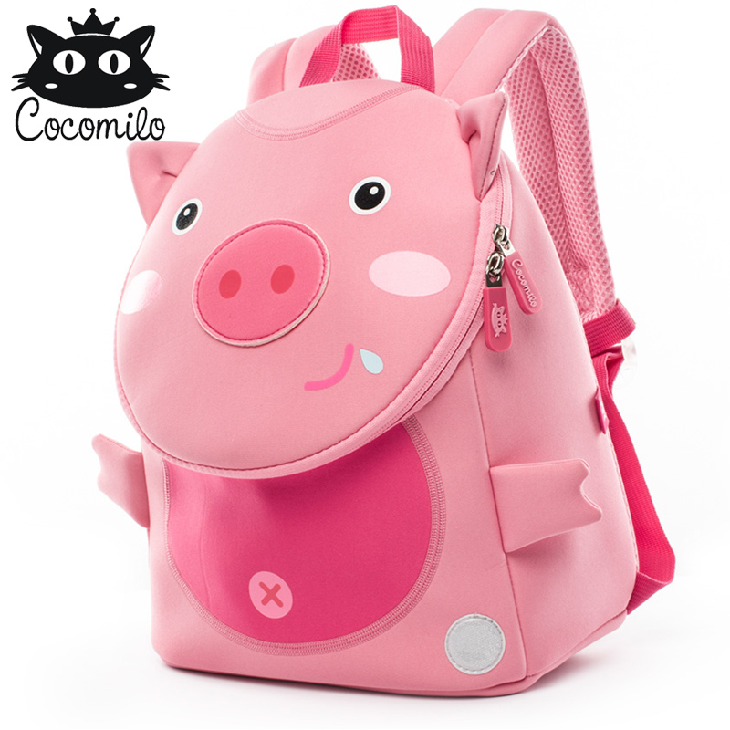 Cocomilo Cute Pig Panda Zoo Backpack Kids Small Bag For Boys Girls Cartoon Anti Lost Backpacks Children School Bags 2-6 Years
