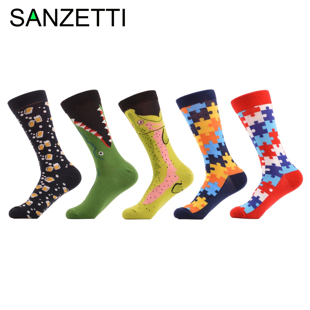 SANZETTI 5 pairs/lot Colorful Mens Funny Wedding Combed Cotton socks Crocodile Puzzle Pattern Casual Dress Business Socks