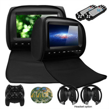 2PCS 9 Inch Car Headrest Monitor DVD Video Player 800*480 Zipper Cover TFT LCD Screen Support IR/FM/USB/SD/Speaker/Game