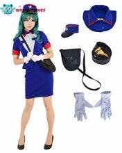 Officer Jenny ชุดเครื่องแต่งกาย COSPLAY ผู้หญิงสีฟ้าชุดกระโปรง