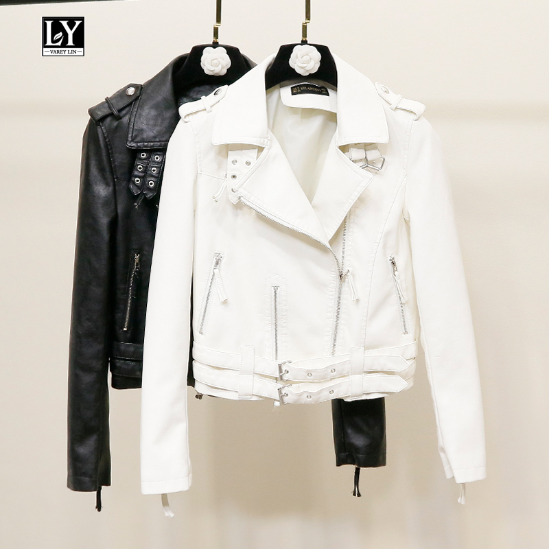 Ly Varey Lin Women Spring New Pu   Leather   Jacket Motorcycle Faux Soft   Leather   Zipper Rivet Epaulet Short Jacket Female Outerwear