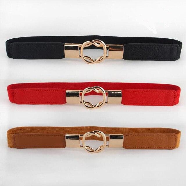 2fe717dba13 Livraison gratuite mode femmes ceinture élastique ceinture or cercle boucle  petites ceintures rouge mince cummerbund femme