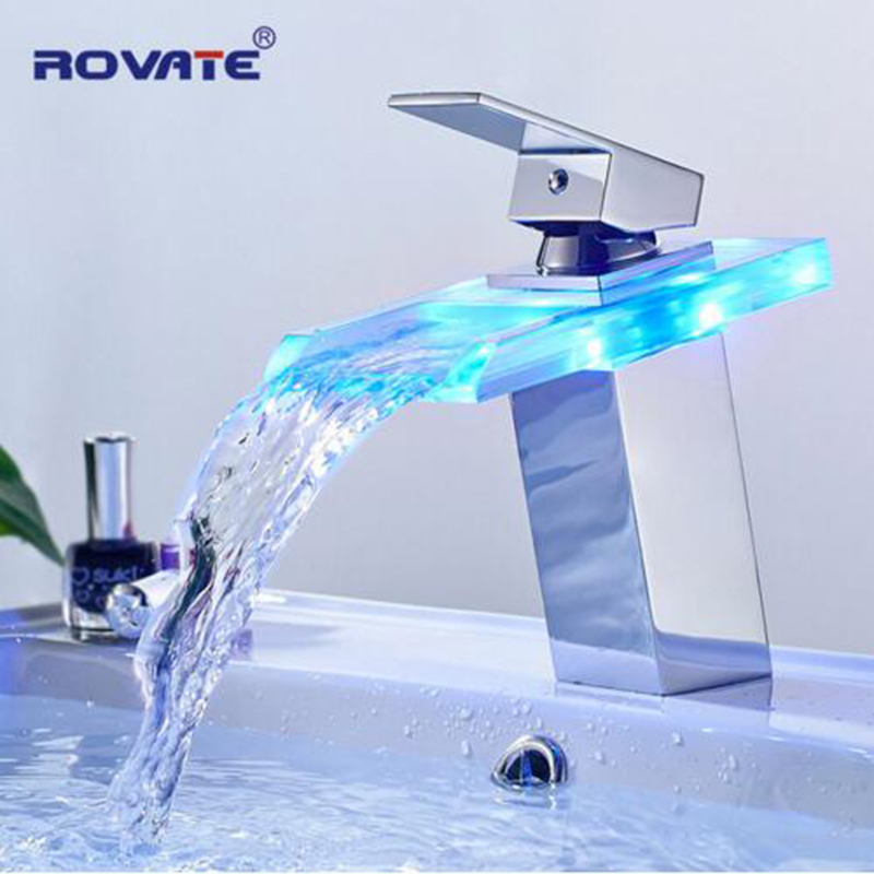 ROVATE LED Basin Faucet Brass Waterfall Temperature Colors Change Bathroom Mixer Tap Deck Mounted Wash Sink Glass Taps цена