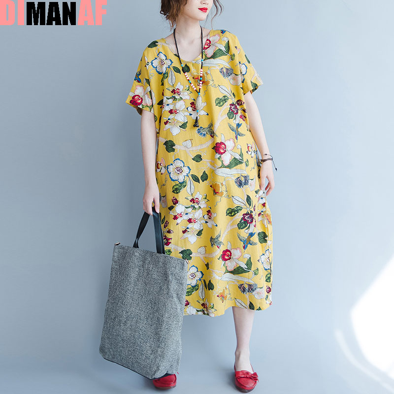 48645123a2486 US $17.54 32% OFF|DIMANAF Plus Size Women Summer Dress Floral Print Linen  Female Casual Fashion Long Yellow V Neck Loose Vintage Hawaiian Dresses-in  ...