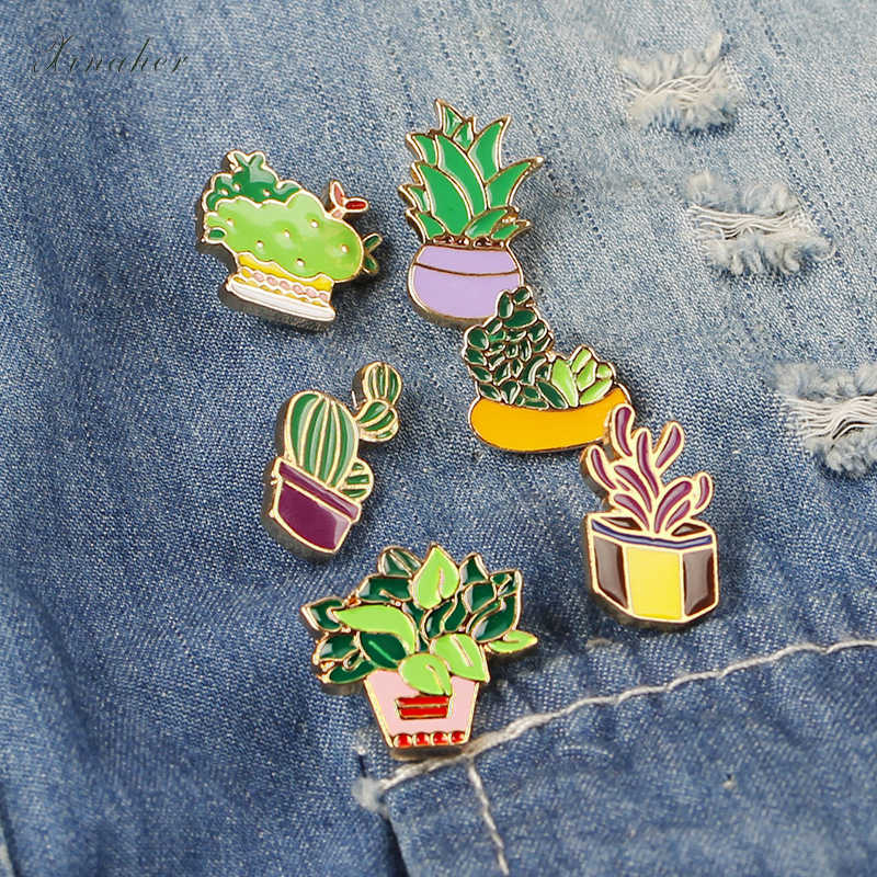 1pc cartoon cactus potted metal badge brooch button pins denim jacket pin jewelry decoration badge for clothes lapel pins