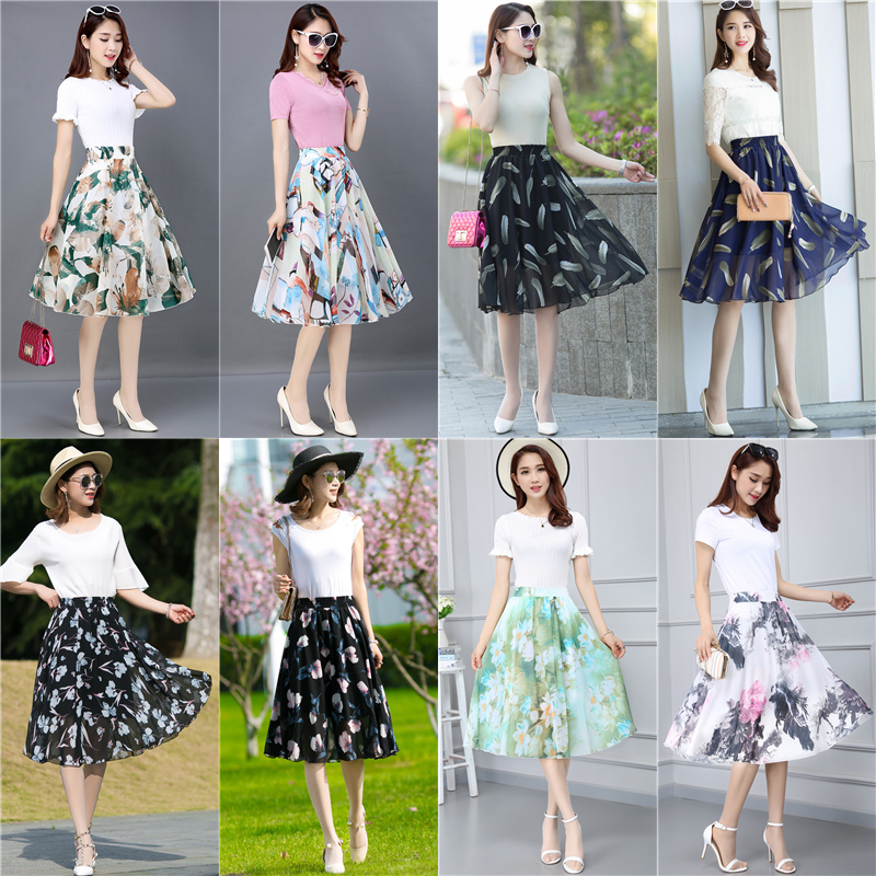 28 Color 2019 Spring Summer New Vintage High Wasit Elasticity Pleated Chiffon Skirt Casual Boho A-line Floral Skirts Women X842