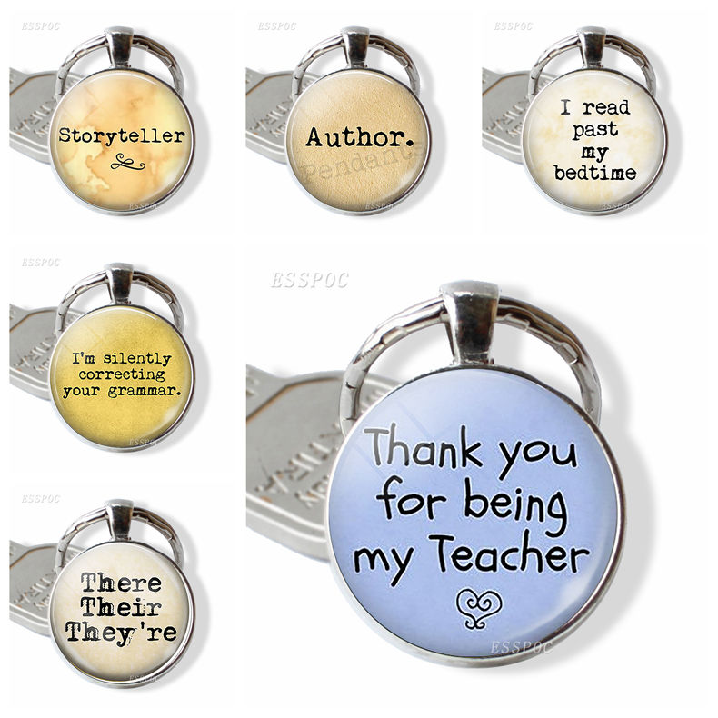 Teacher's Gift,Thank You For Being My Teacher Silver Plated Key Chain Teacher Appreciation Glass Pendant