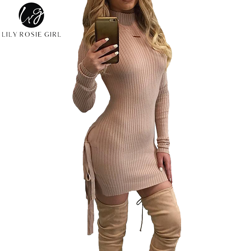 Lily Rosie Girl Pink Knitted Sexy Split Women Sweater Dresses Long Sleeve Mini Bodycon Dress 2017 Autumn Winter Party Vestidos bonu sexy bodycon sweater dress simple elegant dress female winter knitted flare sleeve split dresses for women vestidos