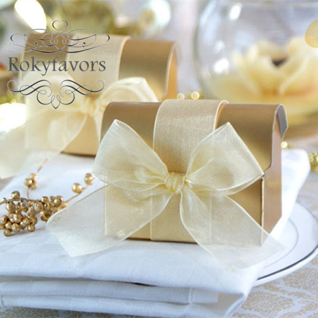FREE SHIPPING 100PCS GOLD Treasure Candy Boxes Wedding Favors Boxes