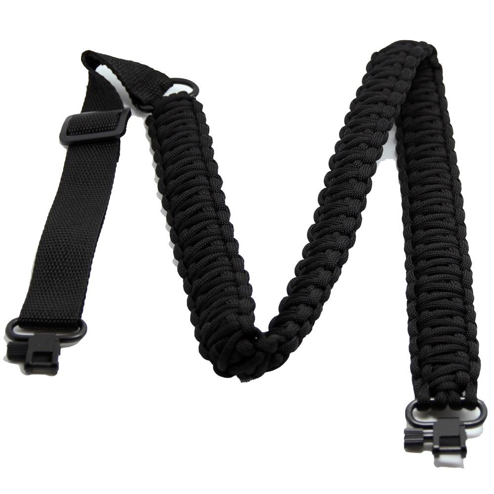 GUGULUZA NOVINKA Nastavitelný páskový popruh pro paracord s 2ks 1 '' Swivels Černý lanový zvedák Černý pás s pistolí