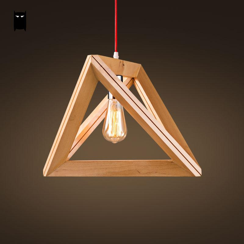Oak Wood Triangle Pendant Light Cord Fixture Loft Japanese Creative Style Hanging Ceiling Lamp Luminaria Dining Table Study Room