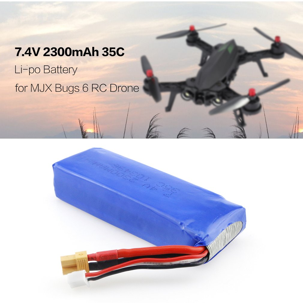 Upgraded <font><b>7.4V</b></font> <font><b>2300mAh</b></font> 2S 35C Li-po Rechargeable <font><b>Battery</b></font> with XT30 Plug Spare Parts for MJX Bugs 6 B6 RC Drone Quadcopter image