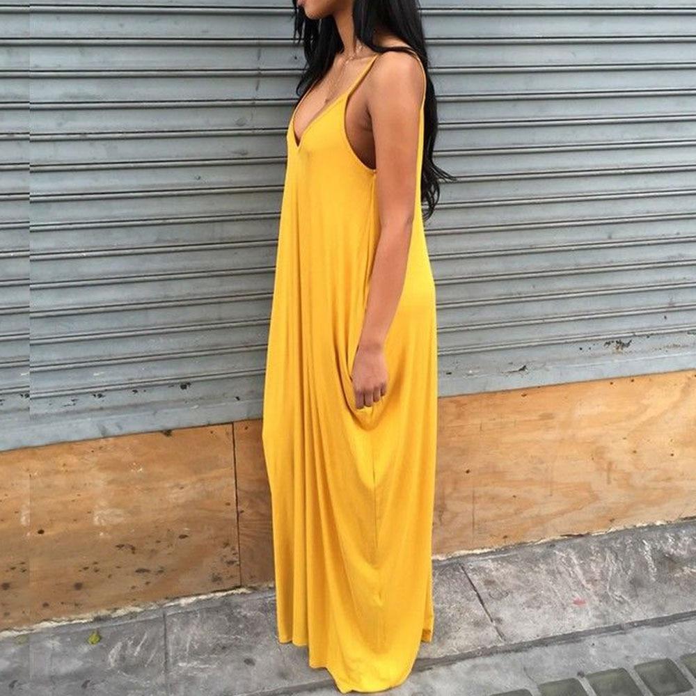 Girls Yellow Deep V Shoulder Strap Women Summer Dress Loose Long Maxi Party Dresses Ladies Sun Casual Vestidos Club Wear Outfits