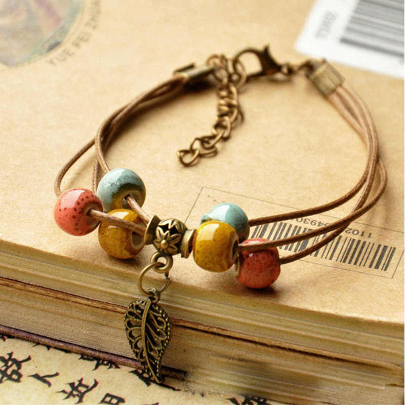 Manik-manik Gelang Wanita Pria Keramik Beads Leaf Charm Multilayer Kulit Rantai Cuff Bangle Adjustable Gelang Bohemia Perhiasan