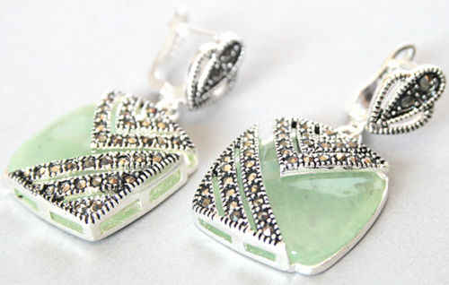 "Fancy lady's 925 Silver Hook green  Marcasite Square Earrings 1"" STONE"