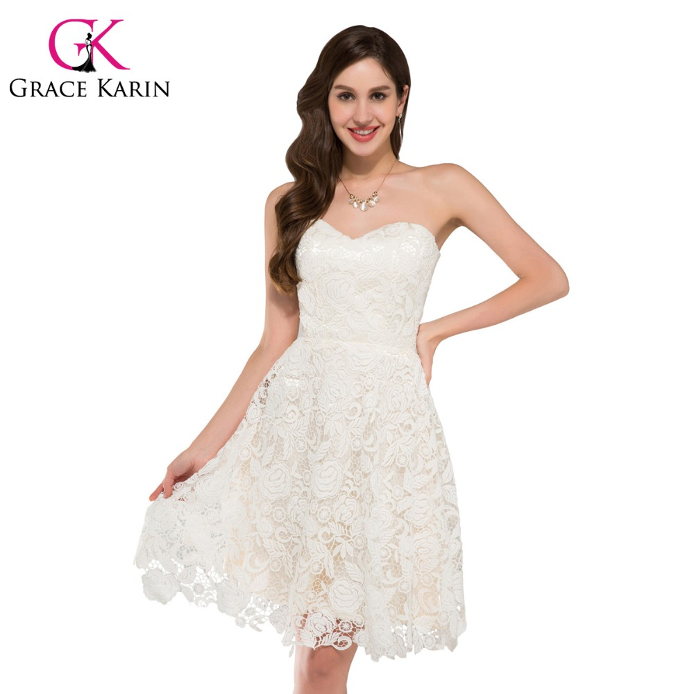 550c4c5d386 Grace Karin Ivory Sweetheart Lace Short Prom Dresses Knee Length Elegant  Party Gowns Ballkleider Robe De Cocktail Formal Dress -in Prom Dresses from  ...