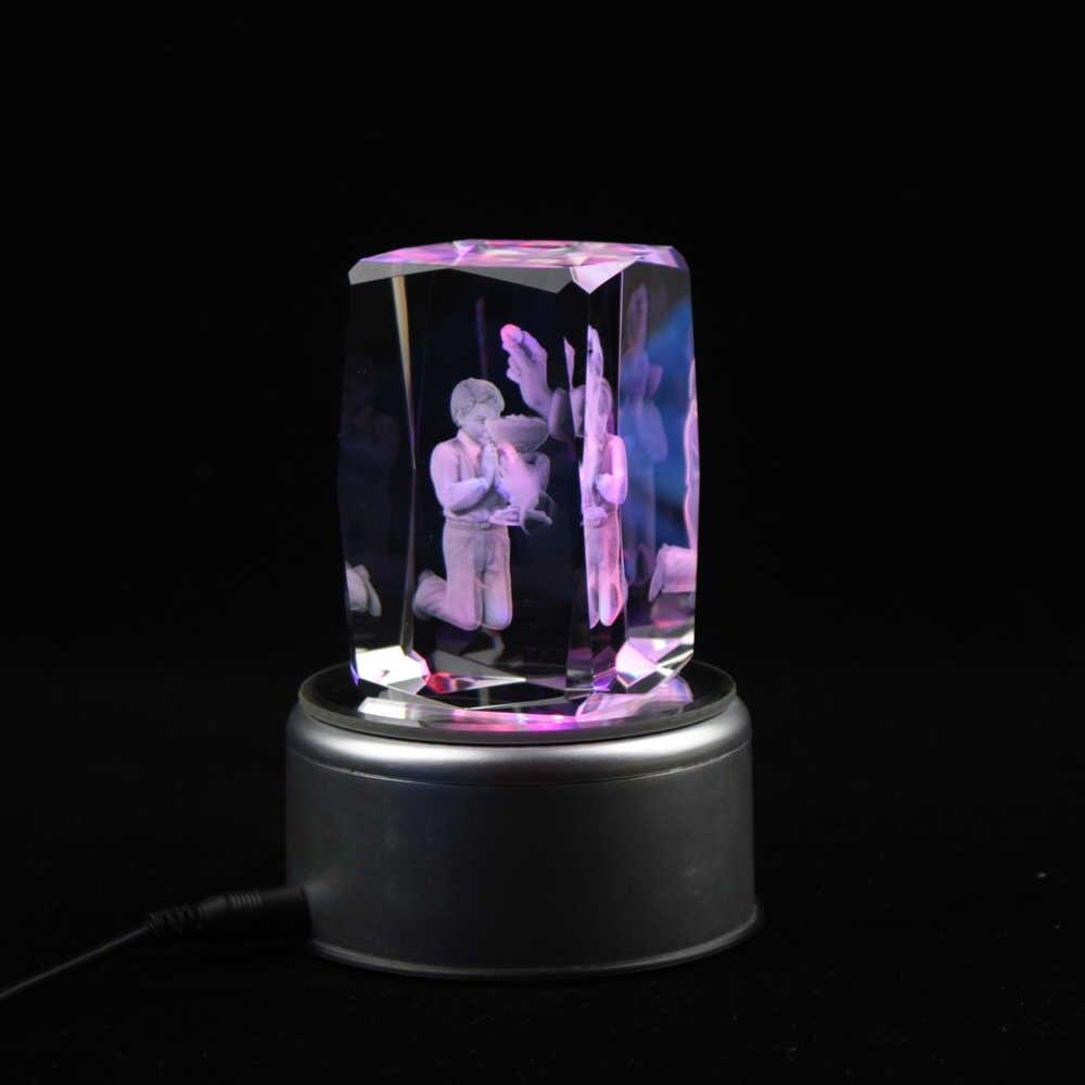 คุณภาพสูง 3D เลเซอร์แกะสลัก Praying Boy คริสตัล Cube บ้านห้องนอนตกแต่ง First Holy Communion ของที่ระลึกโปรดปรานของขวัญ