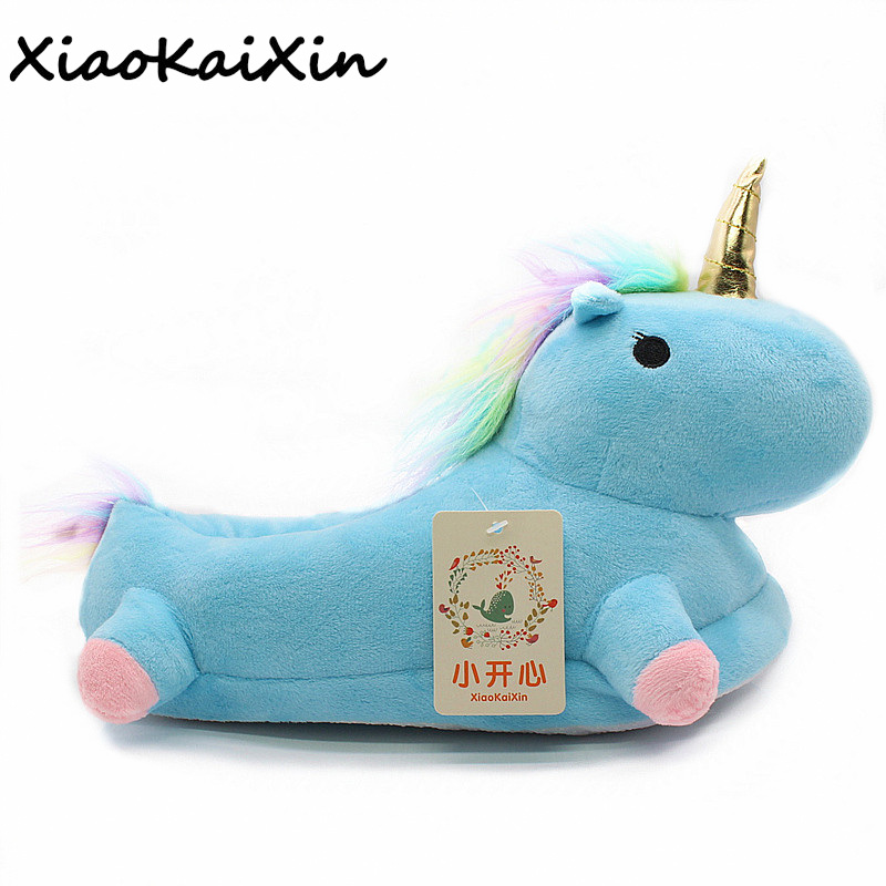 Lovely Cartoon Home Slippers For Men&Women Warm Soft PP Cotton Plush Indoor Unicorn House Shoes unicornio licorne Fit Cosplay