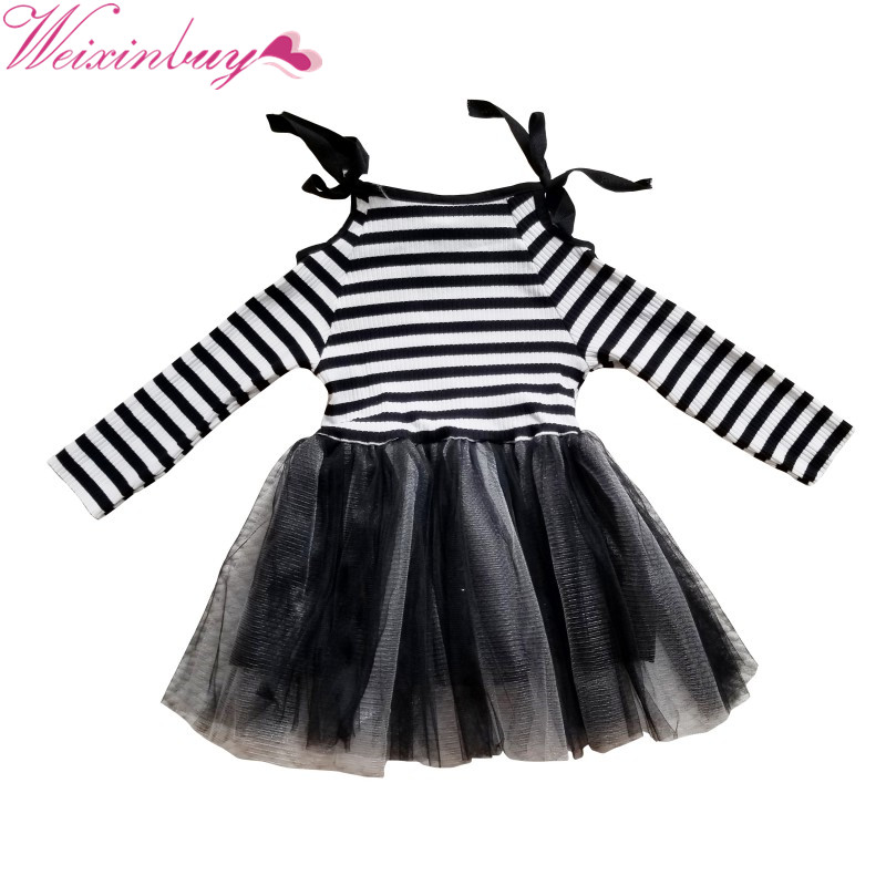 Baby Girls Knee-Length Dress O-Neck Full Sleeve Black&White Striped Child Dresses New Cotton Kids Clothes striped tied neck flowy dress page 8