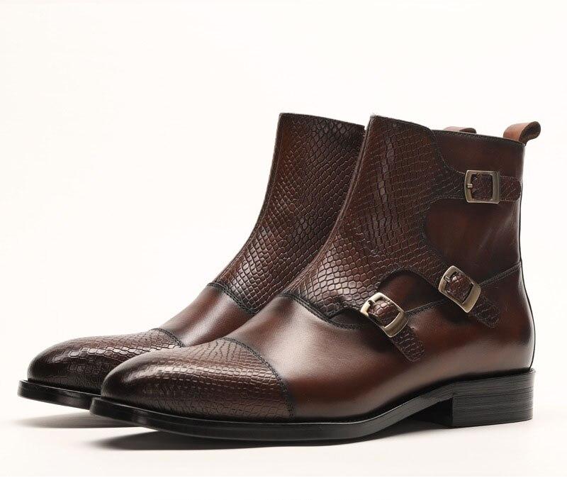 QYFCIOUFU Merk Nieuwe mannen Laarzen Lederen Mannen Jurk Laarzen Schoenen Mannelijke Britse Chelsea Gesp Heren Werkschoenen - 2