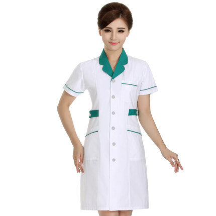 In accordance with the white gown beauty salon pharmacy pharmacy waist nursing short-sleeved short-sleeved summer overalls do309 ...