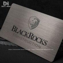 Cartão de adesão metálico para cartão, escovado, de aço inoxidável, preto, metálico, alta qualidade, compatível com metal, cartão de visita, preto ou dourado