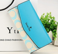 Free Shipping New Women S Medium Long Candy Color PU Leather Leopard Head With A Chain