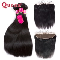 Queen Malaysian Hair 3 Bundles With Frontal Straight Human Hair Bundles With 13x4 Frontal Closure Remy Human Hair Extensions