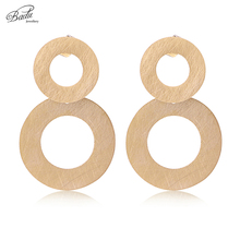 Badu Gold Earring Stud Jewelry Stainless Steel Women Round Punk Earrings Scratches Unique Design 2017 Trendy Fashion