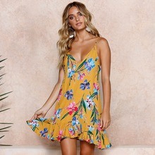 Summer new popular European and American fashion personality v-neck loose pleated sling high waist printed female dress