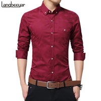 Hot Sale New Fashion Casual Men Shirt Long Sleeve Jacquard Weave Slim Fit Shirt Men Cotton