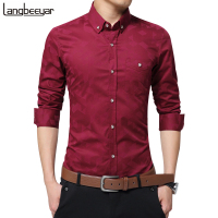 Hot Sale New Fashion Casual Men Shirt Long Sleeve Jacquard Weave Slim Fit Shirt Men Cotton