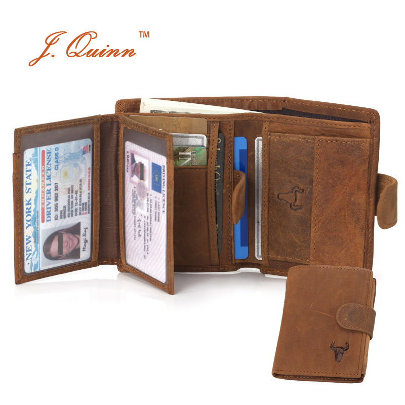J.Quinn Male Coin Wallets with 2 ID 10 Cards Zipper Pocket Genuine Leather Snap Collection Yellow Mens Purse Vintage Bifold New