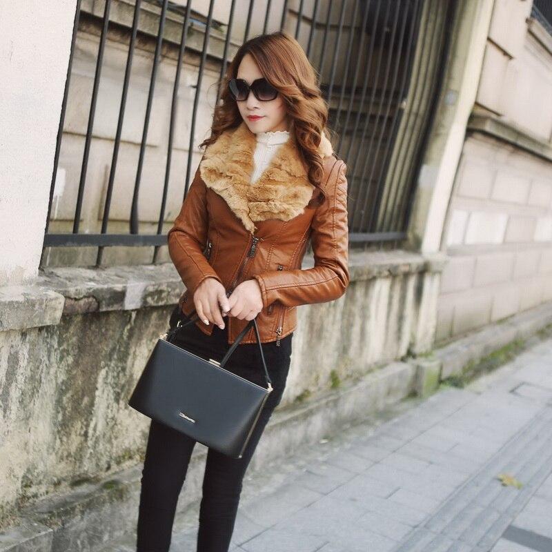 2018 Special Offer Full Zipper Novelty Hooded Women   Leather   Jacket 2xl Winter Pu Skin Korean Real Collar Plus   Suede   Jacket