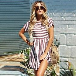 Kobiety lato plaża Sukienka w paski z krótkim rękawem O-Neck druku sukienki różowy styl Mini Vestidos Sexy Sundress kobiet Sukienka 6