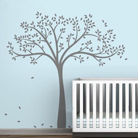 Free Shipping Large Size 191x178cm Vinyl Fall Tree Extended WhiteTree Wall Decal Art Wall Stickers Decorative Sticker
