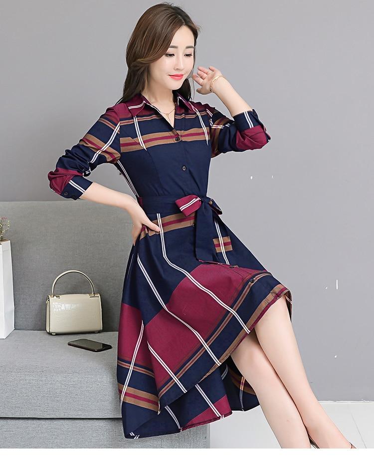 2018 Autumn Vintage Knee-length Fashion Brief Long Sleeve Women Dress Peter Pan Collar Temperament Plaid Elegant Dress 14