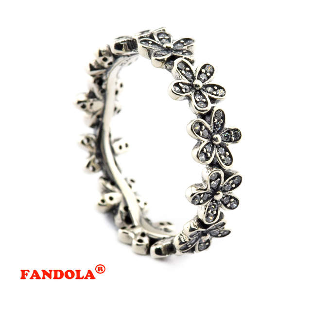 Authentic 925 Sterling Silver Jewelry Daisy Ring with Clear Cubic Zirconia Free Shipping