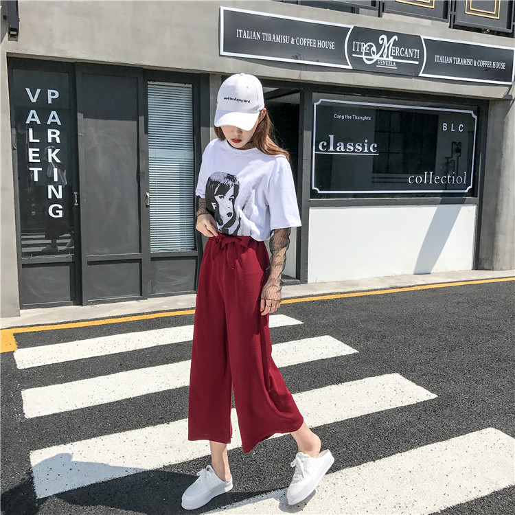 19 Women Casual Loose Wide Leg Pant Womens Elegant Fashion Preppy Style Trousers Female Pure Color Females New Palazzo Pants 65