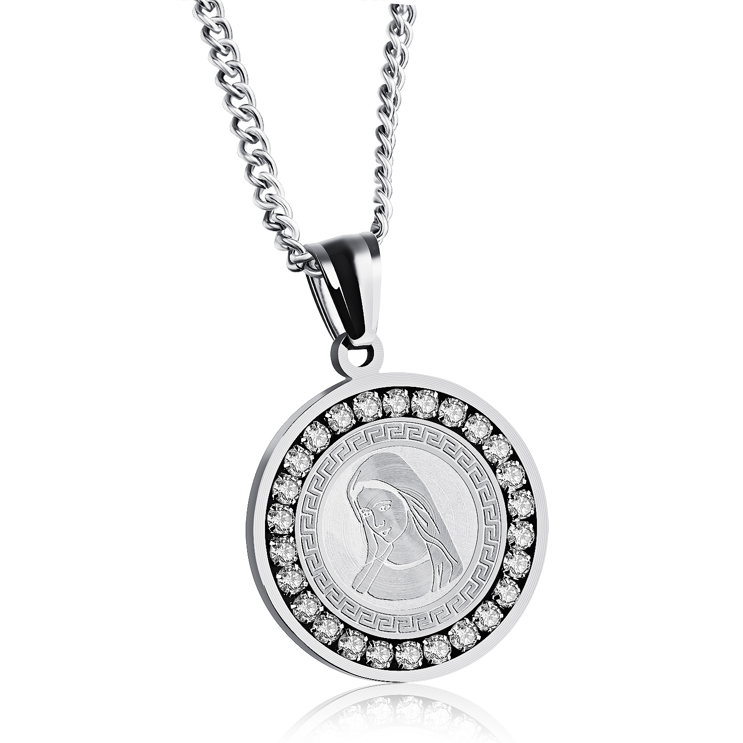 Fashion Jewelry <font><b>Male</b></font> Female Accessories The Virgin <font><b>Mary</b></font> Stainless Steel Inlaid Cubic Zirconia Man Woman Pendant Necklace CX1141