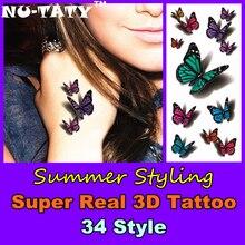 Nu-TATY Super Real 3d Temporary Tattoo Body Art 34 Style Flash Tattoo Stickers 19x9cm Waterproof Henna Fake Tatoo Beauty Selfie