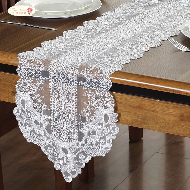Proud Rose Korean Lace Table Runner Wedding Decoration White Table Flag Embroidered Tablecloths TV Cabinet Table Cover