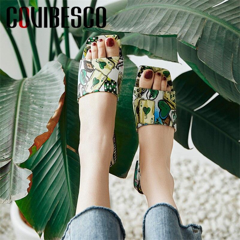 Ayakk.'ten Düşük Topuklular'de COVIBESCO 2019 Yaz Yeni Moda Tatlı Baskı Kadın Sandalet Sığ Yüksek Topuklar Üzerinde Kayma rahat ayakkabılar Kadın Hakiki deri ayakkabı'da  Grup 1