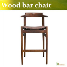Free shipping U BEST Restaurant Bar Stools Upholstered Wood Bar Stool Fabric and PU underside backer