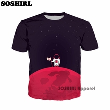 SOSHIRL Cute Space Astronaut T shirts Superhero Short Sleeve Top Tees Cool Clothes Unisex Summer Casual Mens O-neck Tee Dropship
