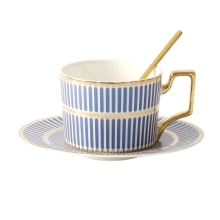 European Style Elegant Ceramic Coffee Cup Saucer Set Afternoon Tea With Spoon Household Simple Mugs Dish