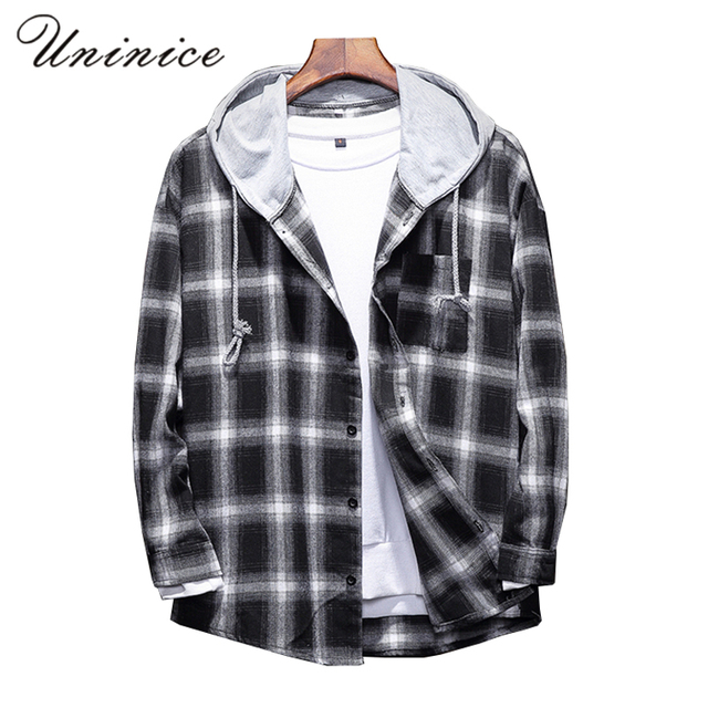 dbd9a68b766 Teenager Autumn Winter Plus Size 5XL Hat Plaid Shirt BIG Plaid Hooded Men s  Cotton Shirt Punk Hip Hop Out Cap Casual Shirts Top